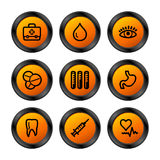 Medicine icons, orange series Royalty Free Stock Photos