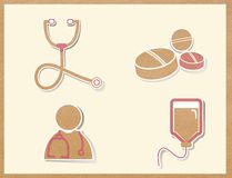 Medicine icons paper craft Royalty Free Stock Image