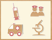 Medicine icons paper craft Royalty Free Stock Images
