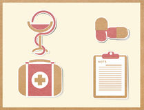 Medicine icons paper craft Stock Images