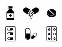 Medicine icons Pills. Capsules Prescription Bottle. Medicine icons - Pills, Capsules and Prescription Bottle. Drugs vector illustration Royalty Free Stock Photos