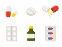 Medicine icons Pills. Capsules Prescription Bottle Royalty Free Stock Photography
