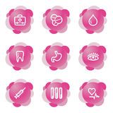 Medicine icons, pink series. Vector web icons, pink flower series, V2 Royalty Free Stock Photos