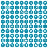 100 medicine icons sapphirine violet. 100 medicine icons set in sapphirine hexagon isolated vector illustration Royalty Free Stock Photography