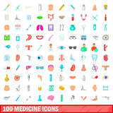 100 medicine icons set, cartoon style. 100 medicine icons set in cartoon style for any design vector illustration Royalty Free Stock Photography
