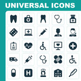 Medicine Icons Set. Collection Of Hospital, Physician, Ache And Other Elements. Also Includes Symbols Such As Beating. Medicine Icons Set. Collection Of Hospital Royalty Free Stock Image