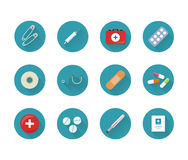 Medicine Icons Set Collection on Web Buttons. Medicine icons set on web buttons. Safety pins syringe kit pills stethoscope plaster drugs thermometer medicines Royalty Free Stock Photo