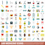 100 medicine icons set, flat style Stock Photos