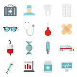 Medicine icons set, flat style. Medicine icons set in flat style. Medical care set collection vector illustration Stock Image