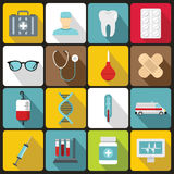 Medicine icons set, flat style Royalty Free Stock Photos