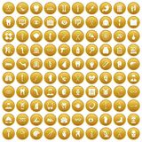 100 medicine icons set gold. 100 medicine icons set in gold circle isolated on white vector illustration Vector Illustration