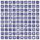 100 medicine icons set grunge sapphire. 100 medicine icons set in grunge style sapphire color isolated on white background vector illustration Stock Image