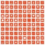 100 medicine icons set grunge orange. 100 medicine icons set in grunge style orange color isolated on white background vector illustration Royalty Free Stock Images