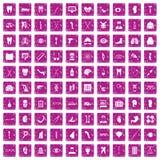 100 medicine icons set grunge pink. 100 medicine icons set in grunge style pink color isolated on white background vector illustration Stock Illustration