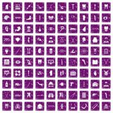 100 medicine icons set grunge purple. 100 medicine icons set in grunge style purple color isolated on white background vector illustration Royalty Free Stock Images