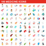 100 medicine icons set, isometric 3d style Royalty Free Stock Photos