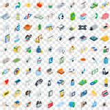 100 medicine icons set, isometric 3d style Stock Photo