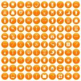 100 medicine icons set orange. 100 medicine icons set in orange circle isolated on white vector illustration Vector Illustration