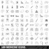 100 medicine icons set, outline style. 100 medicine icons set in outline style for any design vector illustration Stock Photo