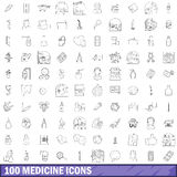 100 medicine icons set, outline style Royalty Free Stock Photography