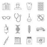 Medicine icons set, outline style Royalty Free Stock Photography