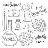 Medicine icons set with pills and virus cell . Medical and healthcare sketch collection Royalty Free Stock Image