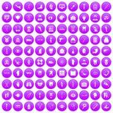 100 medicine icons set purple. 100 medicine icons set in purple circle isolated on white vector illustration Vector Illustration