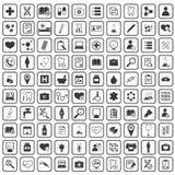 100 medicine icons. Set, simple black image set on white background Royalty Free Illustration