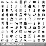 100 medicine icons set, simple style. 100 medicine icons set in simple style for any design vector illustration Stock Image