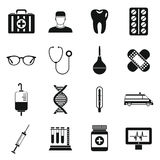 Medicine icons set, simple style Royalty Free Stock Photography