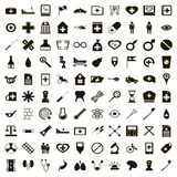 100 medicine icons set, simple style Stock Photo