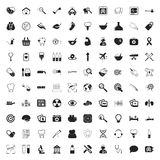 Medicine 100 icons set for web. Flat stock illustration