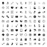 Medicine 100 icons set for web. Flat vector illustration