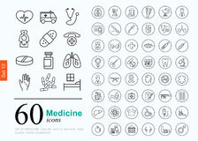 60 medicine icons Stock Images
