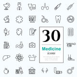 30 medicine icons. Set of medicine icons for web or services. 30 design line icons high quality, vector illustration Royalty Free Stock Photos