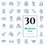 30 medicine icons. Set of medicine icons for web or services. 30 design line icons high quality, vector illustration Royalty Free Stock Photo