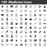 100 medicine icons. Simple black image set on white background Stock Illustration