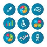 Medicine icons. Syringe, disabled, brain. Stock Photos