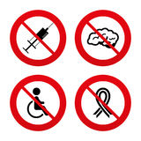 Medicine icons. Syringe, disabled, brain Royalty Free Stock Images