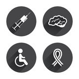 Medicine icons. Syringe, disabled, brain. And ribbon signs. Breast cancer awareness symbol. Handicapped invalid. Circles buttons with long flat shadow. Vector Stock Image