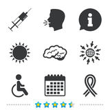 Medicine icons. Syringe, disabled, brain. Medicine icons. Syringe, disabled, brain and ribbon signs. Breast cancer awareness symbol. Handicapped invalid Stock Photo