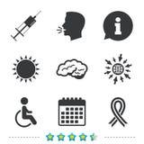 Medicine icons. Syringe, disabled, brain. Stock Photo