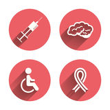 Medicine icons. Syringe, disabled, brain Stock Photos