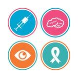Medicine icons. Syringe, eye, brain and ribbon. Royalty Free Stock Image