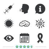 Medicine icons. Syringe, eye, brain and ribbon. Medicine icons. Syringe, eye, brain and ribbon signs. Breast cancer awareness symbol. Human intelligent smart vector illustration