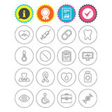 Medicine icons. Syringe, heartbeat and pills. Royalty Free Stock Image