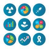 Medicine icons. Syringe, life, radiation. Stock Photo