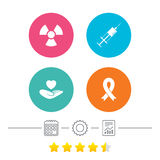 Medicine icons. Syringe, life, radiation. Medicine icons. Syringe, life insurance, radiation and ribbon signs. Breast cancer awareness symbol. Hand holds heart Royalty Free Stock Photography