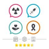Medicine icons. Syringe, life, radiation. Medicine icons. Syringe, life insurance, radiation and ribbon signs. Breast cancer awareness symbol. Hand holds heart Stock Photography
