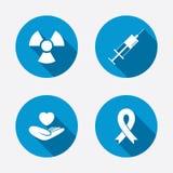 Medicine icons. Syringe, life, radiation. Medicine icons. Syringe, life insurance, radiation and ribbon signs. Breast cancer awareness symbol. Hand holds heart Royalty Free Stock Photos